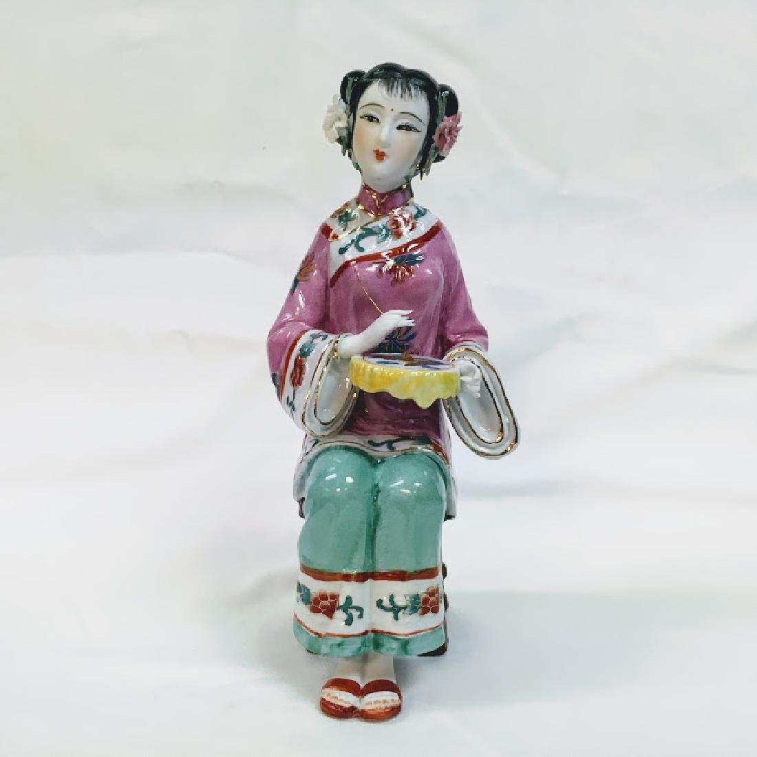 Vintage porcelain Chinese embroidering geisha figurine