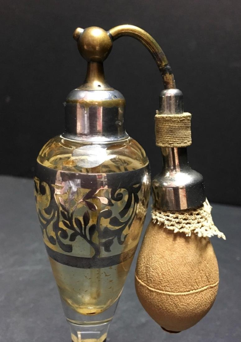 Vintage Crystal silver overlay Art Deco Atomizer - 5