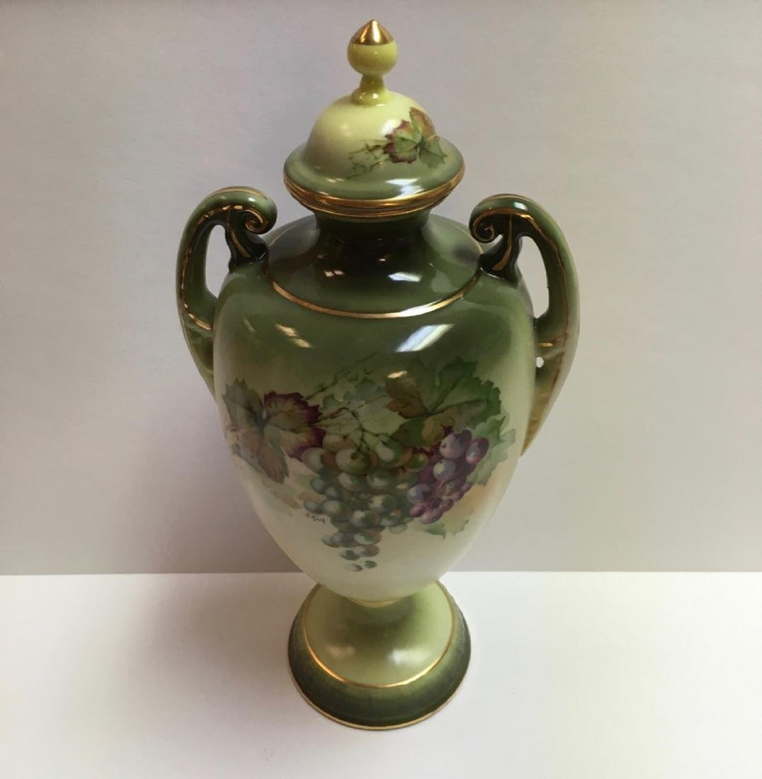 "Vintage Jaeger & Co Porcelain ""Fruit Motif"" Urn ,"