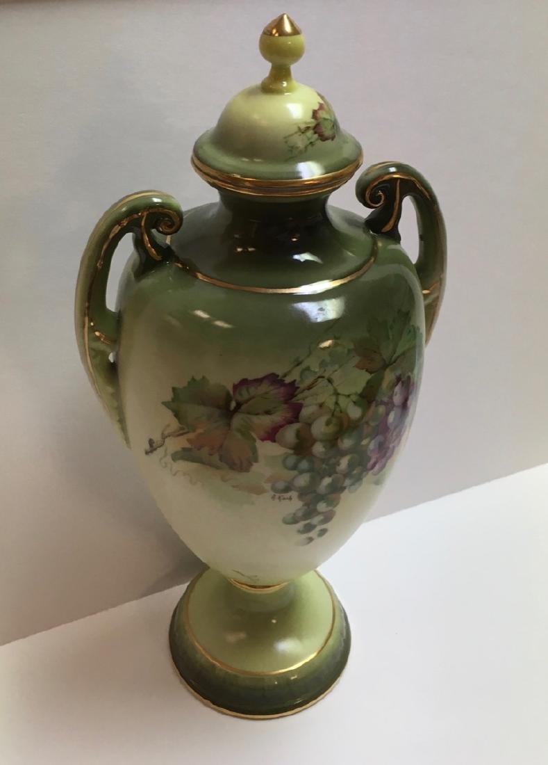 """Vintage Jaeger & Co Porcelain """"Fruit Motif"""" Urn , - 2"""