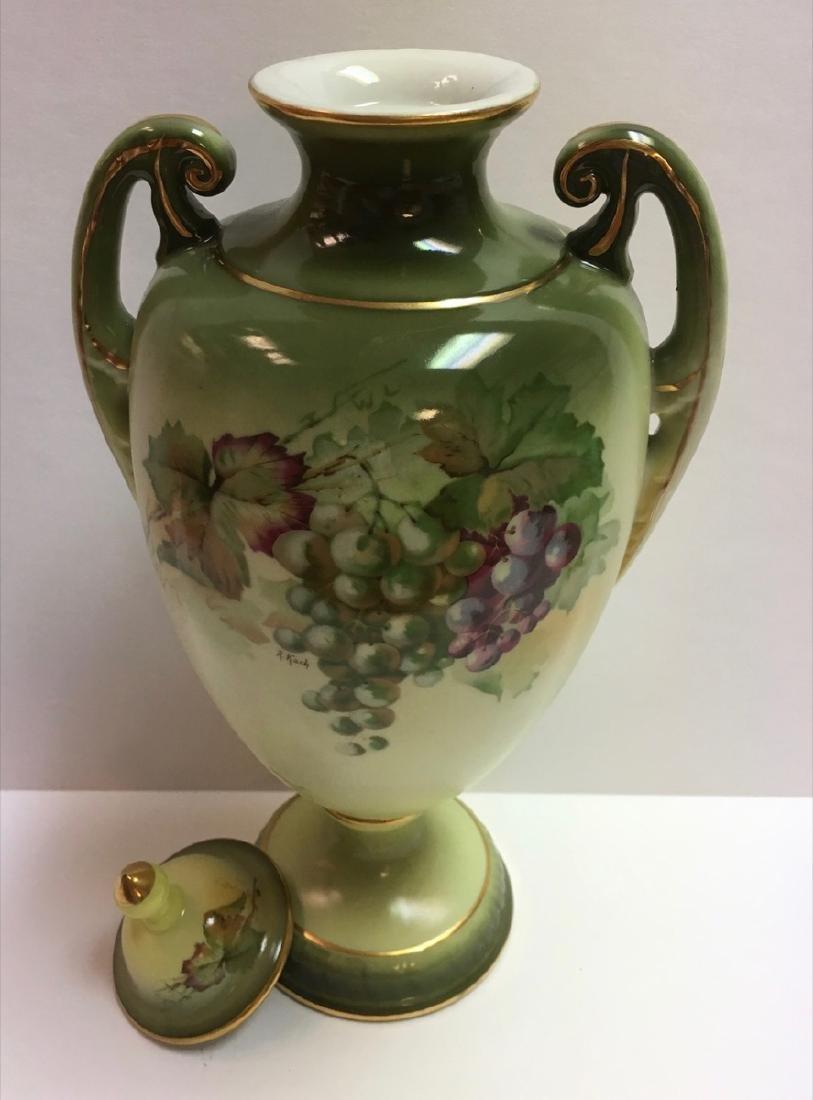 """Vintage Jaeger & Co Porcelain """"Fruit Motif"""" Urn , - 4"""