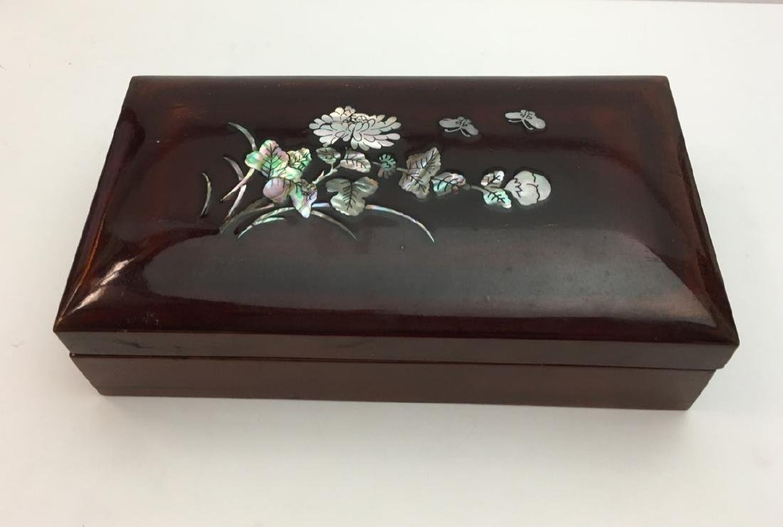 Vintage Mother of pearl, lacquered wood covered box