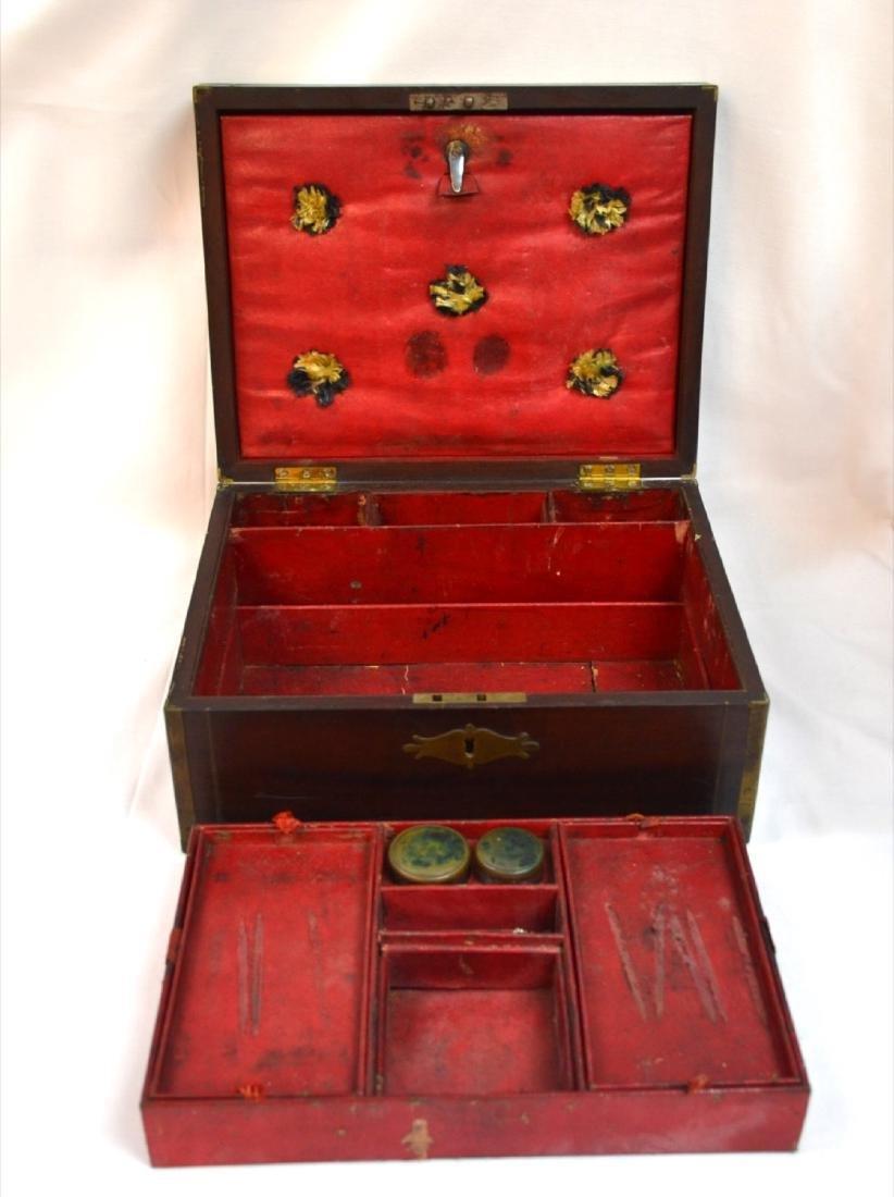 Antique Coromandel Wood Vanity Case, Jewellery Box, - 4