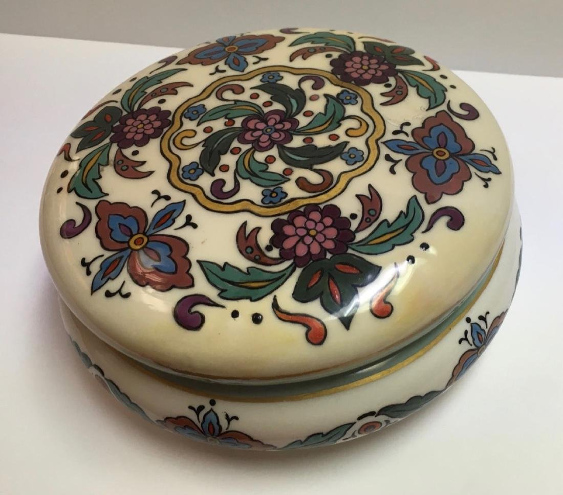 Antique Lenox Belleek Enameled Art Deco covered powder - 2