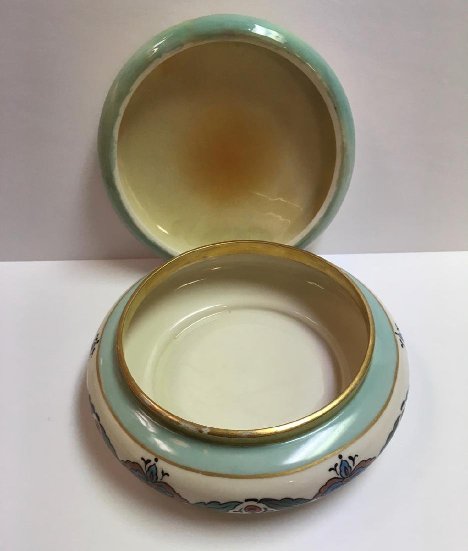 Antique Lenox Belleek Enameled Art Deco covered powder - 3