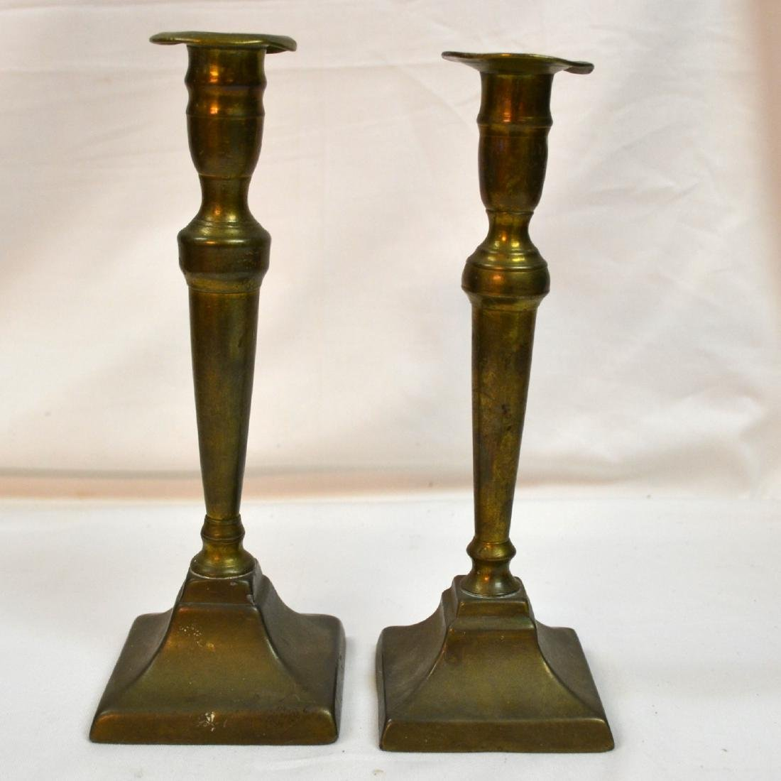 Vintage Pair of Brass Candle Holders/Square Candle