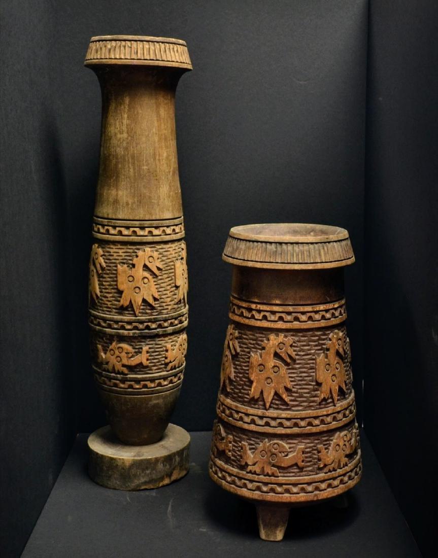 Wooden Tribal Set of 2 Vessels