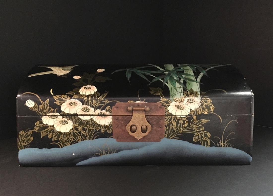 Fine Old VintageAsian hand painted Jewelry Box