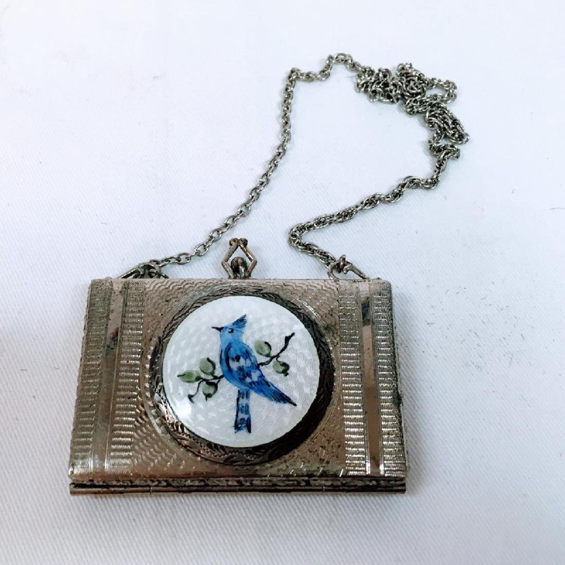 Antique silver Guilloche enamel dance compact with