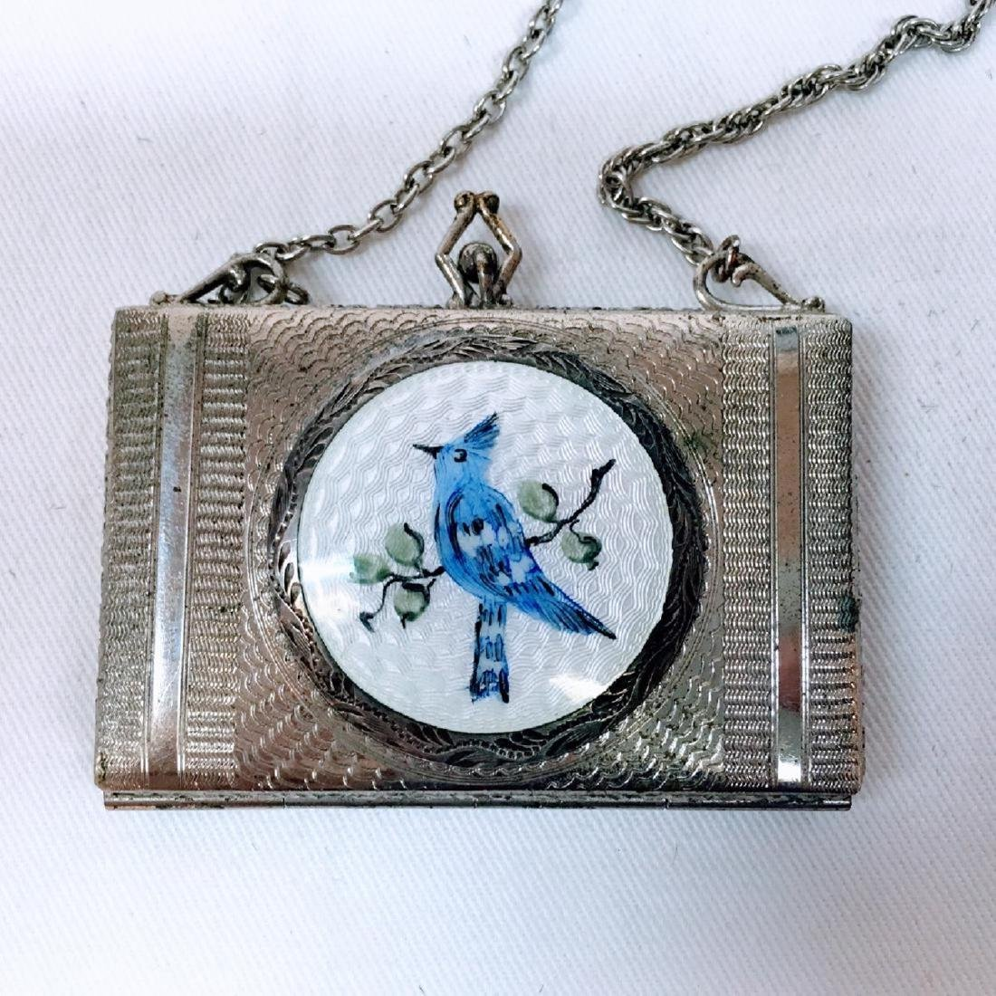 Antique silver Guilloche enamel dance compact with - 2