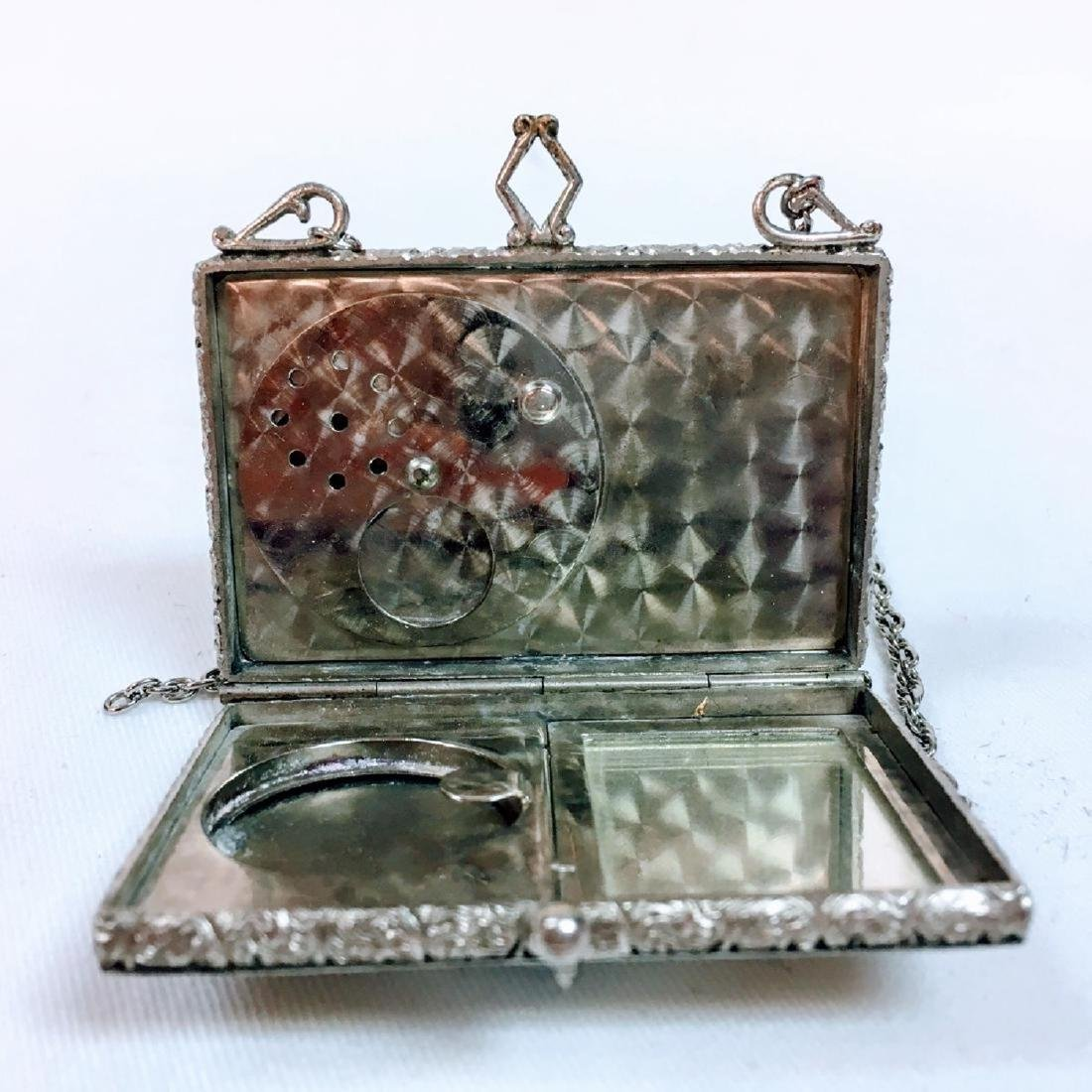 Antique silver Guilloche enamel dance compact with - 4