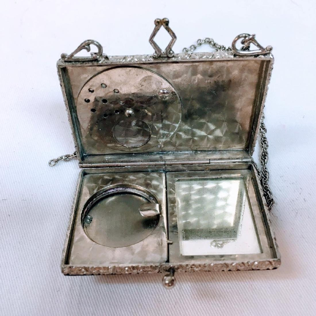 Antique silver Guilloche enamel dance compact with - 5
