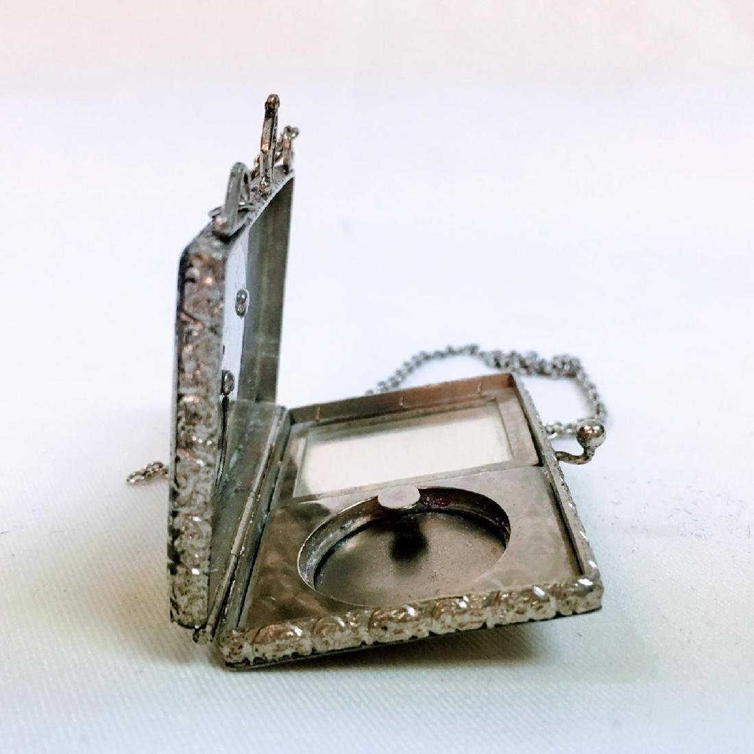 Antique silver Guilloche enamel dance compact with - 6