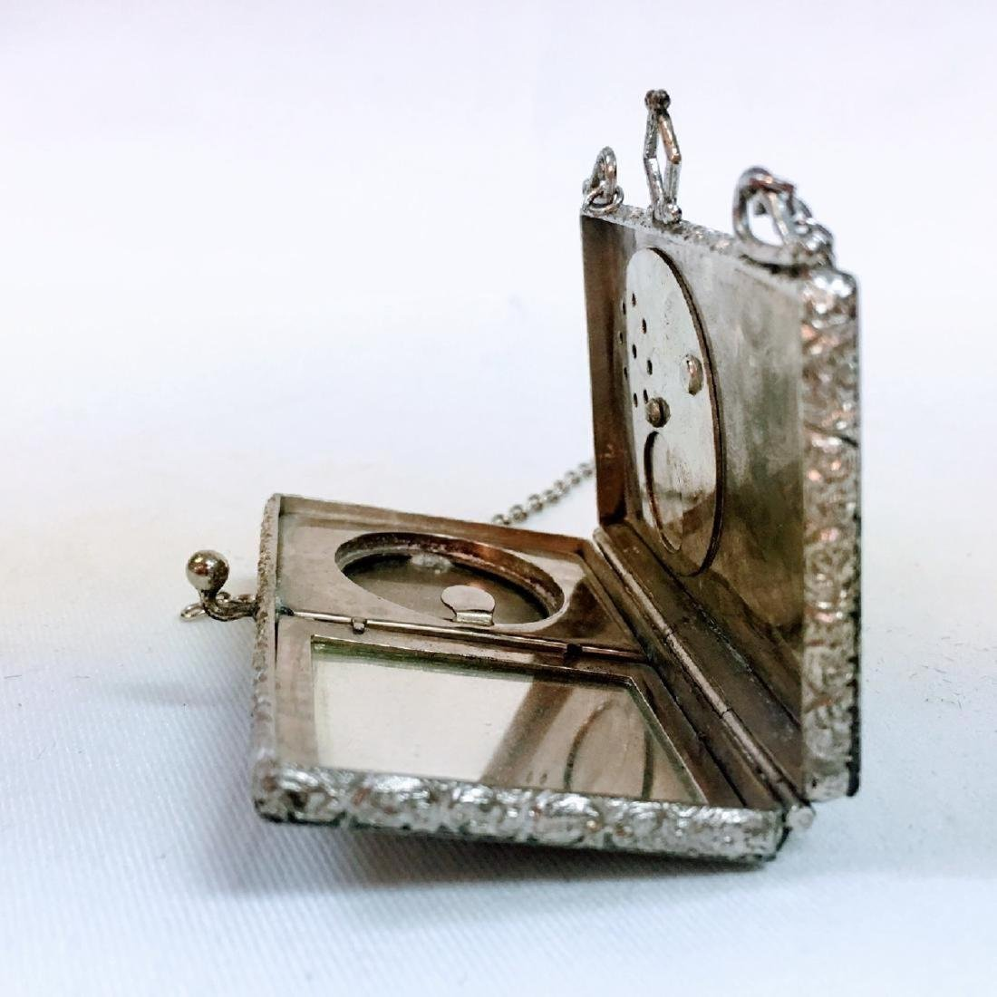 Antique silver Guilloche enamel dance compact with - 7