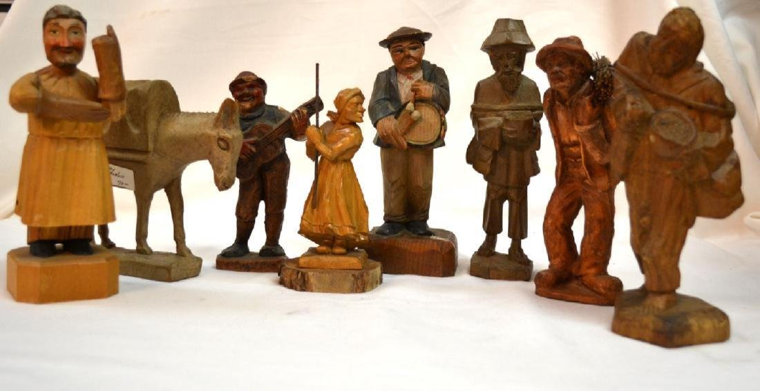 Antique ANRI Handmade WOOD CARVING Italy 8 Figures