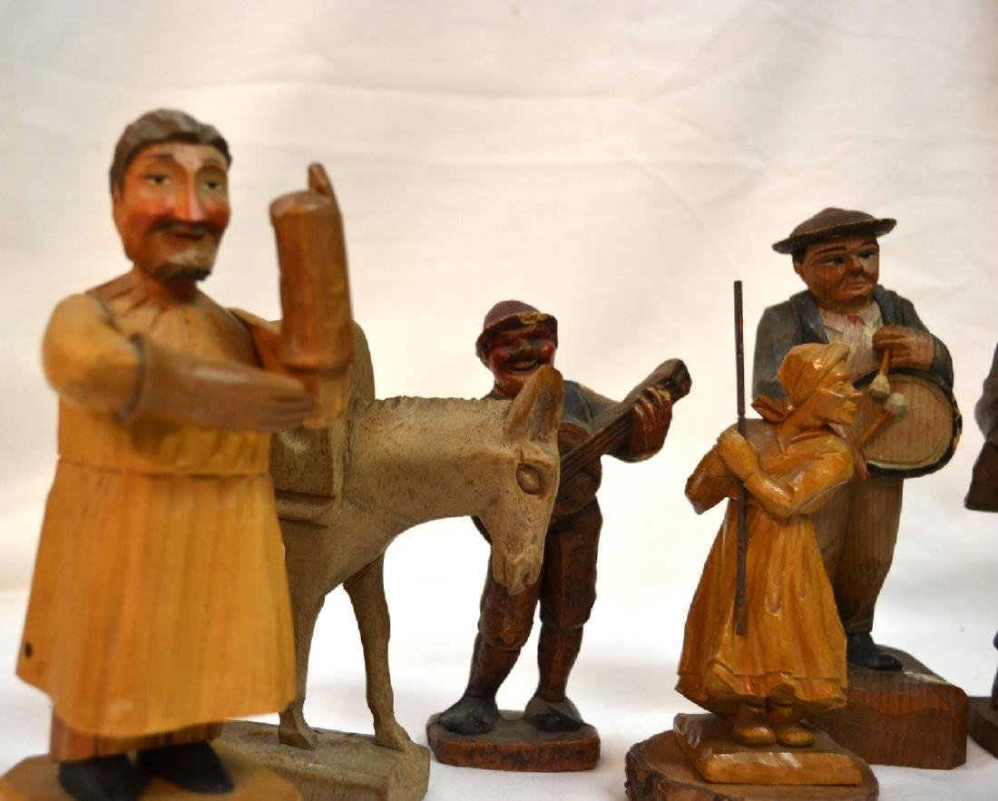 Antique ANRI Handmade WOOD CARVING Italy 8 Figures - 2