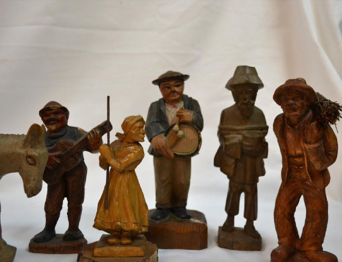 Antique ANRI Handmade WOOD CARVING Italy 8 Figures - 3