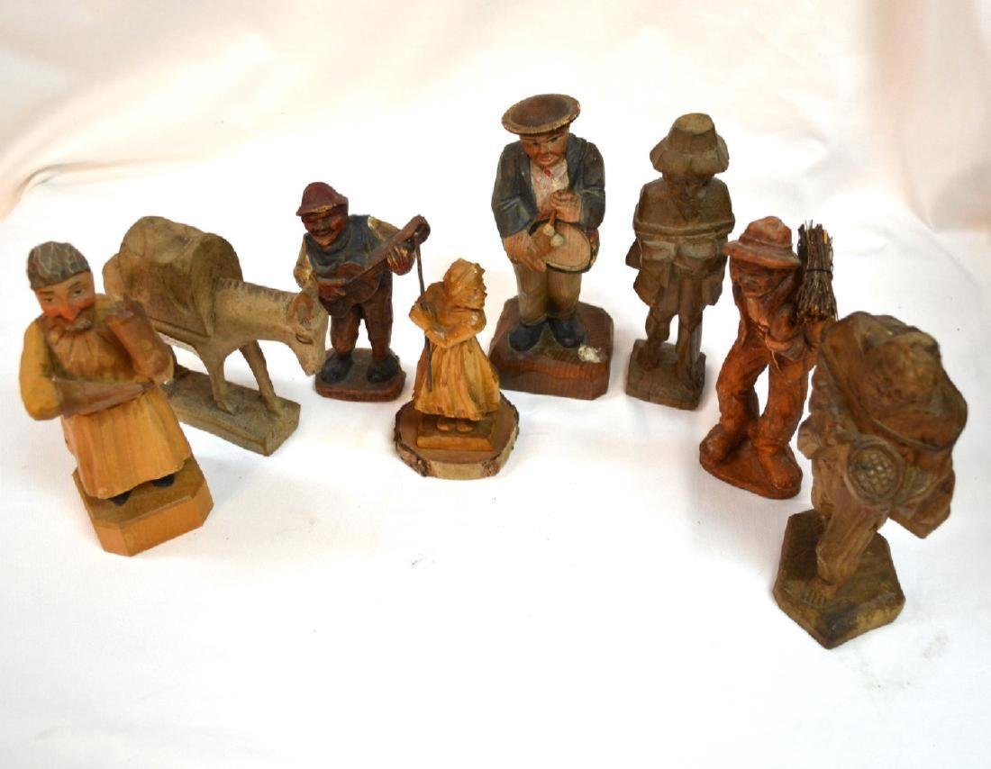 Antique ANRI Handmade WOOD CARVING Italy 8 Figures - 5