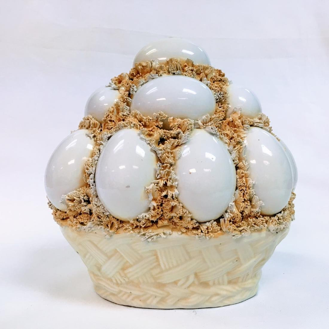 Vtg Italian Pottery  Basket of Stacked Egg Centerpiece