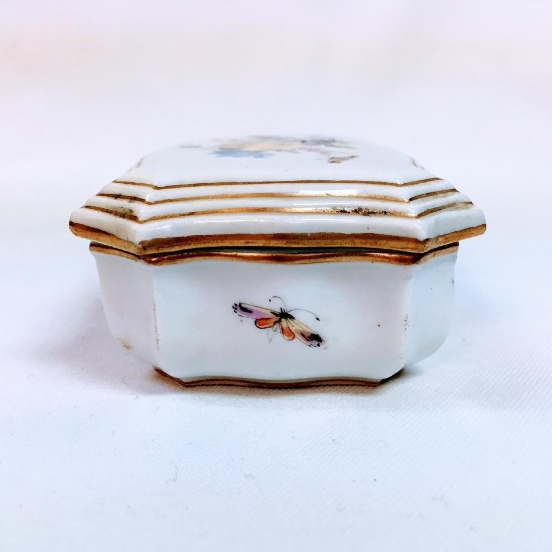 Vintage porcelain meissen hand painted trinket box - 3
