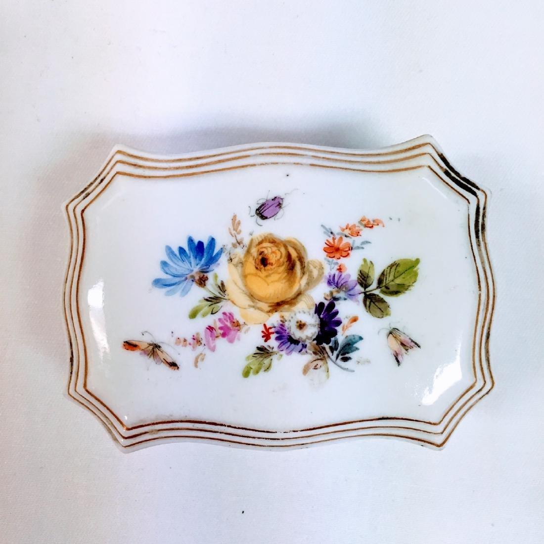 Vintage porcelain meissen hand painted trinket box - 8