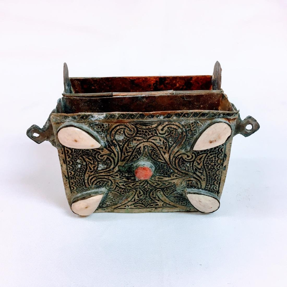 Old Tibet Hand carved Waist box - 5
