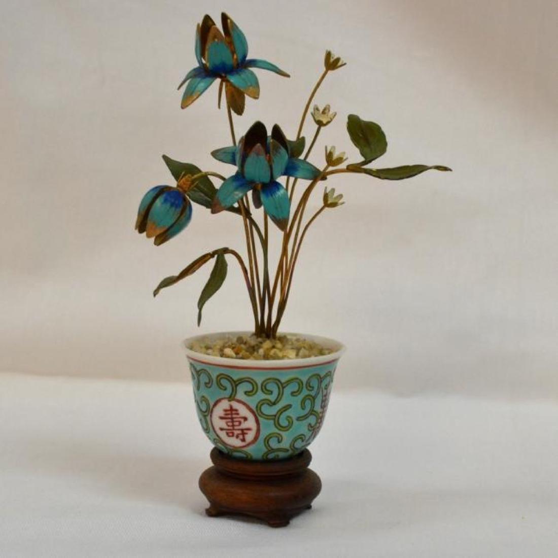 Antique chinese porcelain, enamel and bronze planter