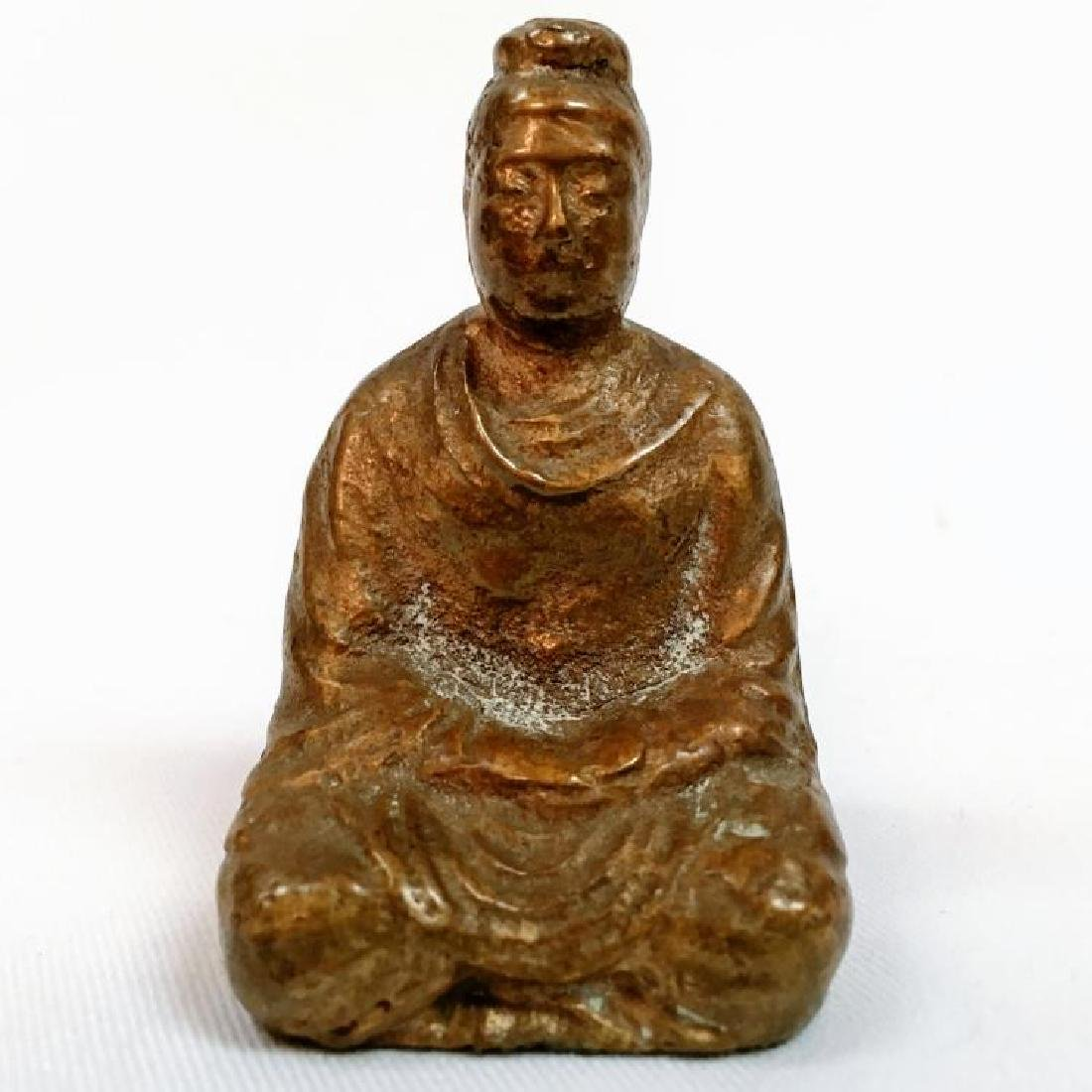 VERY OLD SMALL GILT-BRONZE SEATED FIGURE OF BUDDHA