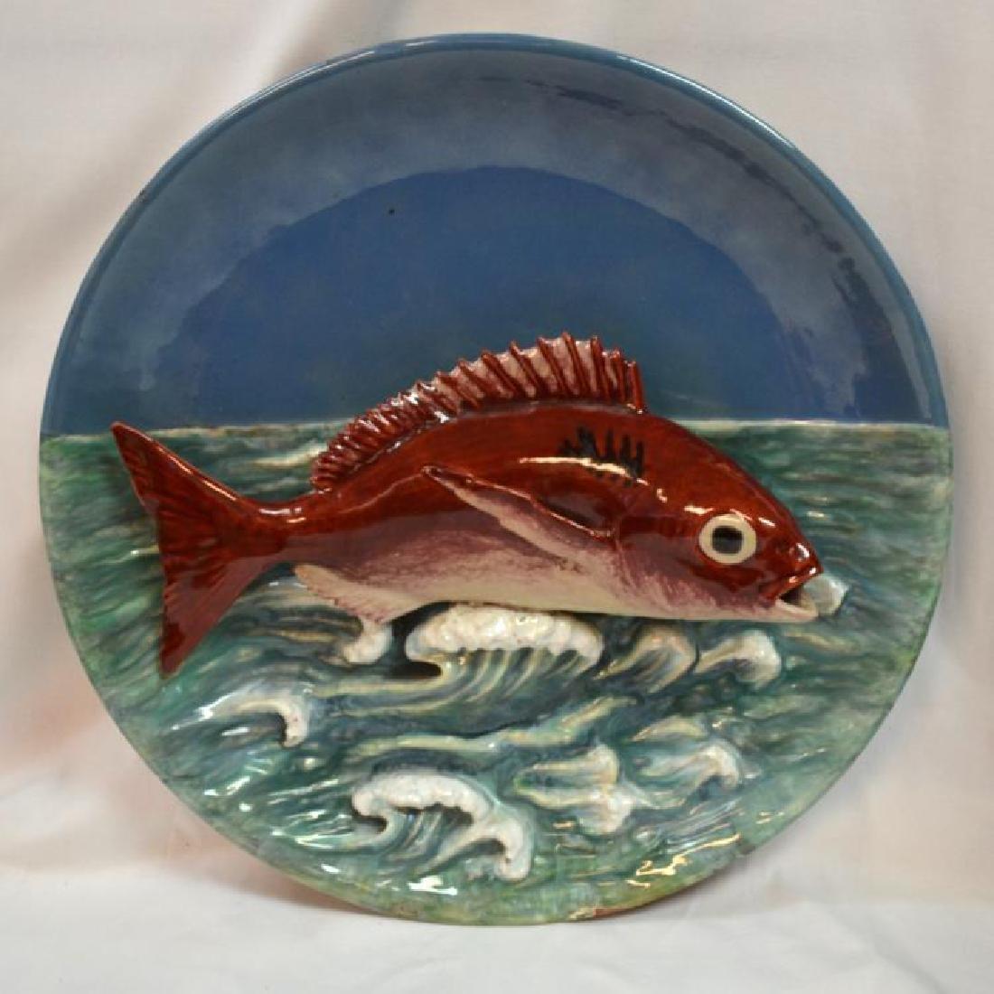 RARE ANTIQUE VERY LARGE PORTUGUSE MAJOLICA FISH PLATE