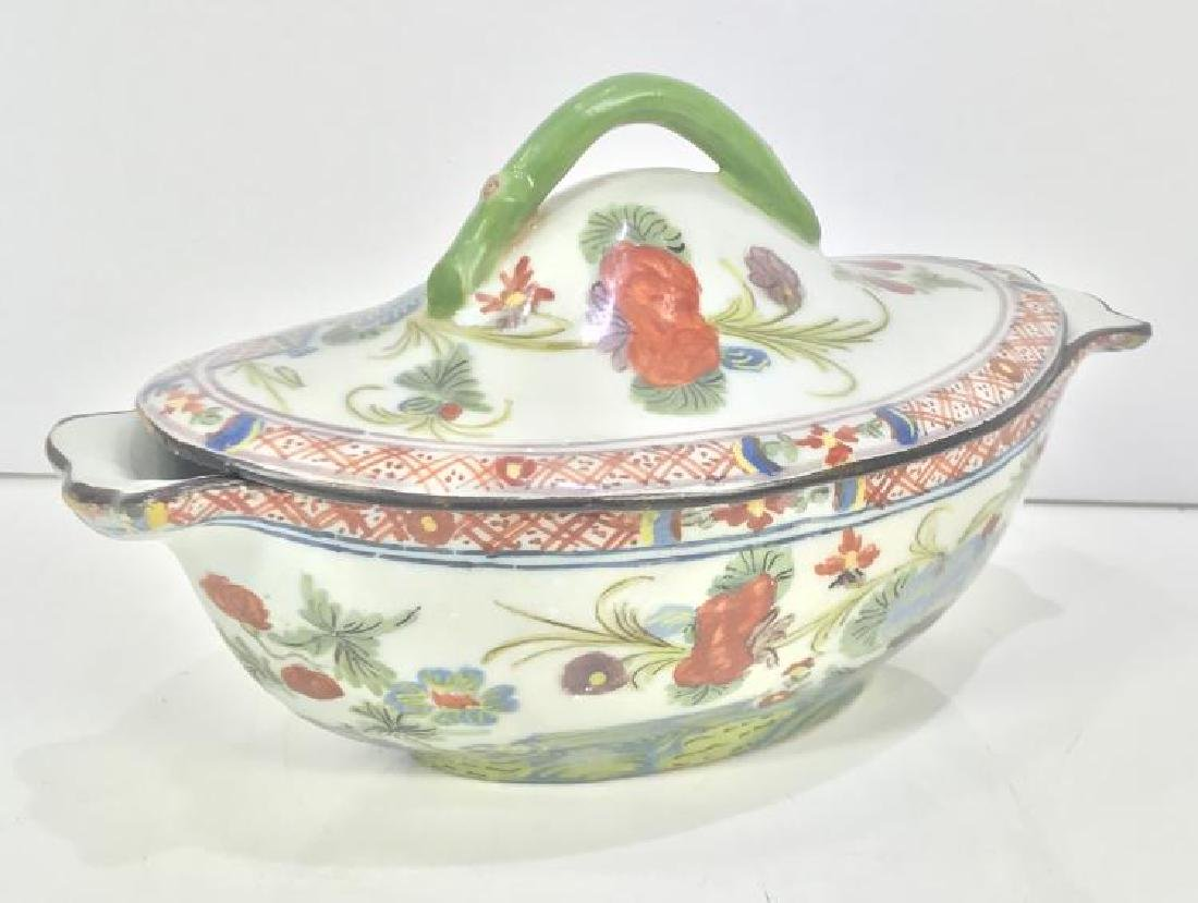 OLD CHINESE PORCELAIN FAMILY VERTE BOWL WITH COVER