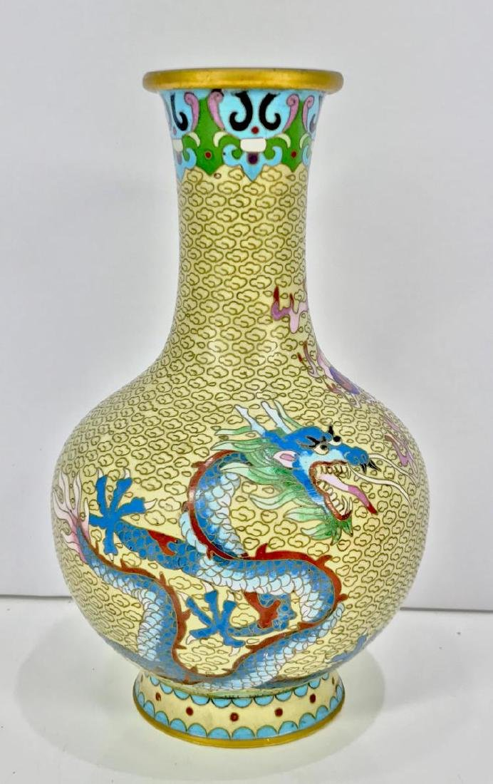 ANTIQUE ORIENTAL / CHINESE CLOISONNE VASE. DRAGON