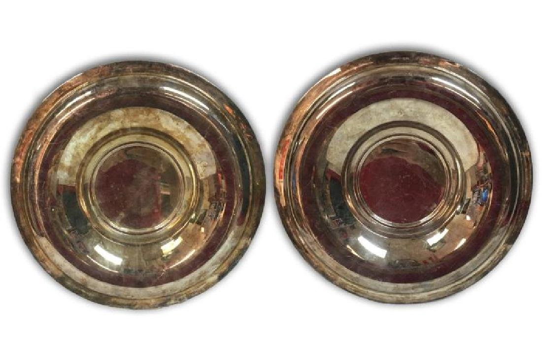 ANTIQUE PAIR ELEGANT FRENCH SILVER PLATED CHARGERS BY