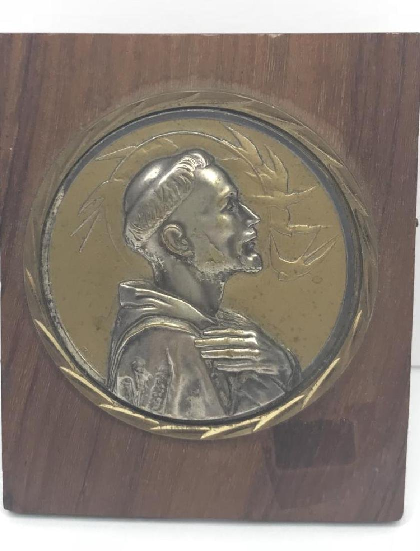 VINTAGE SILVER AND BRASS PLAQUE FIGURE POPE
