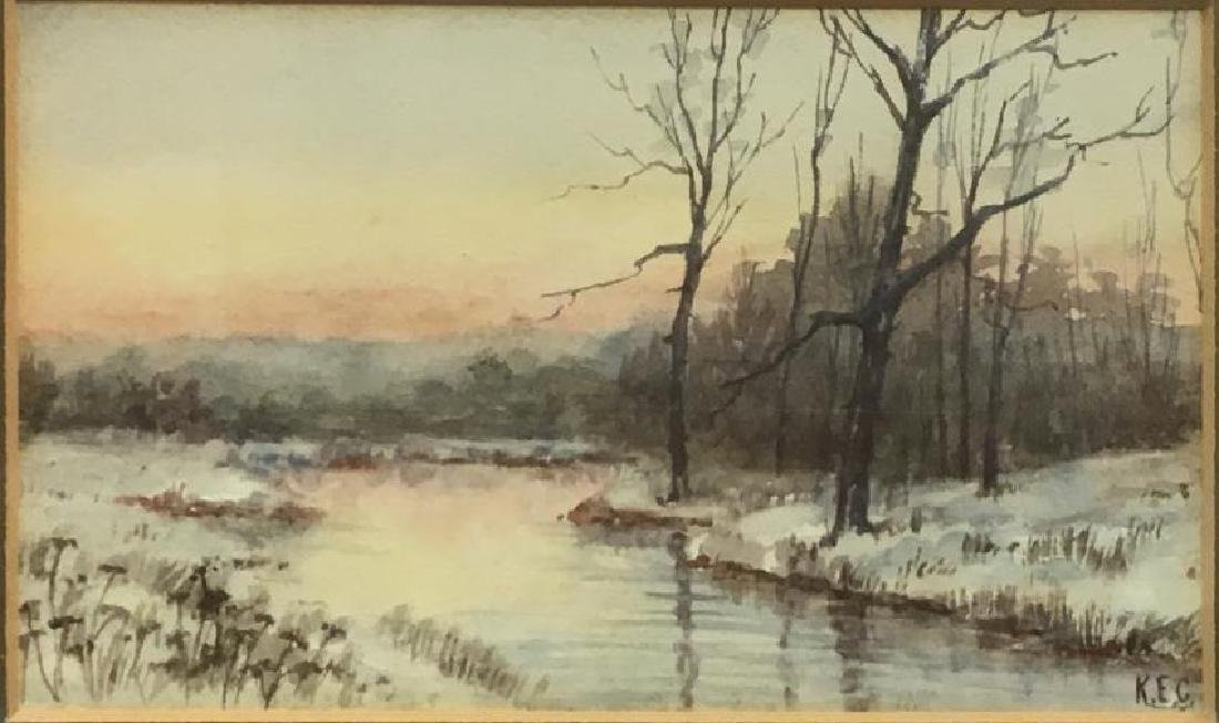 American painting watercolor signed in monogram (K.E.C)