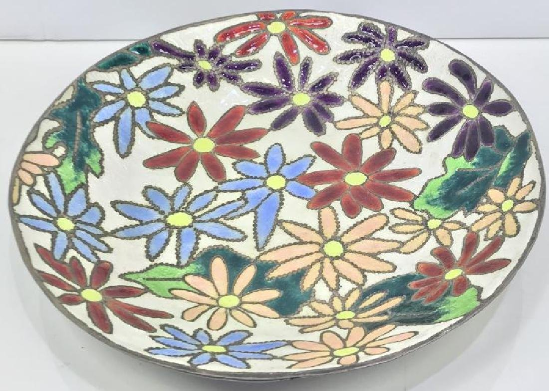 ANTIQUE CHINESE ENAMEL PLATE WITH FLOWER