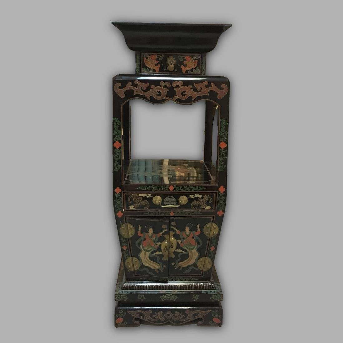 Antique Japanese Black Lacquered Cabinet