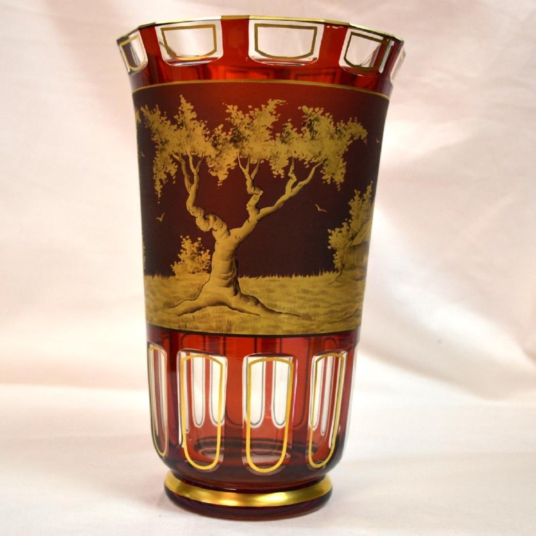 Antique Moser and Engraved Gilt Gold Vase Signed Otto