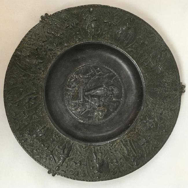 Antique pewter small footed tray, resurrection scene