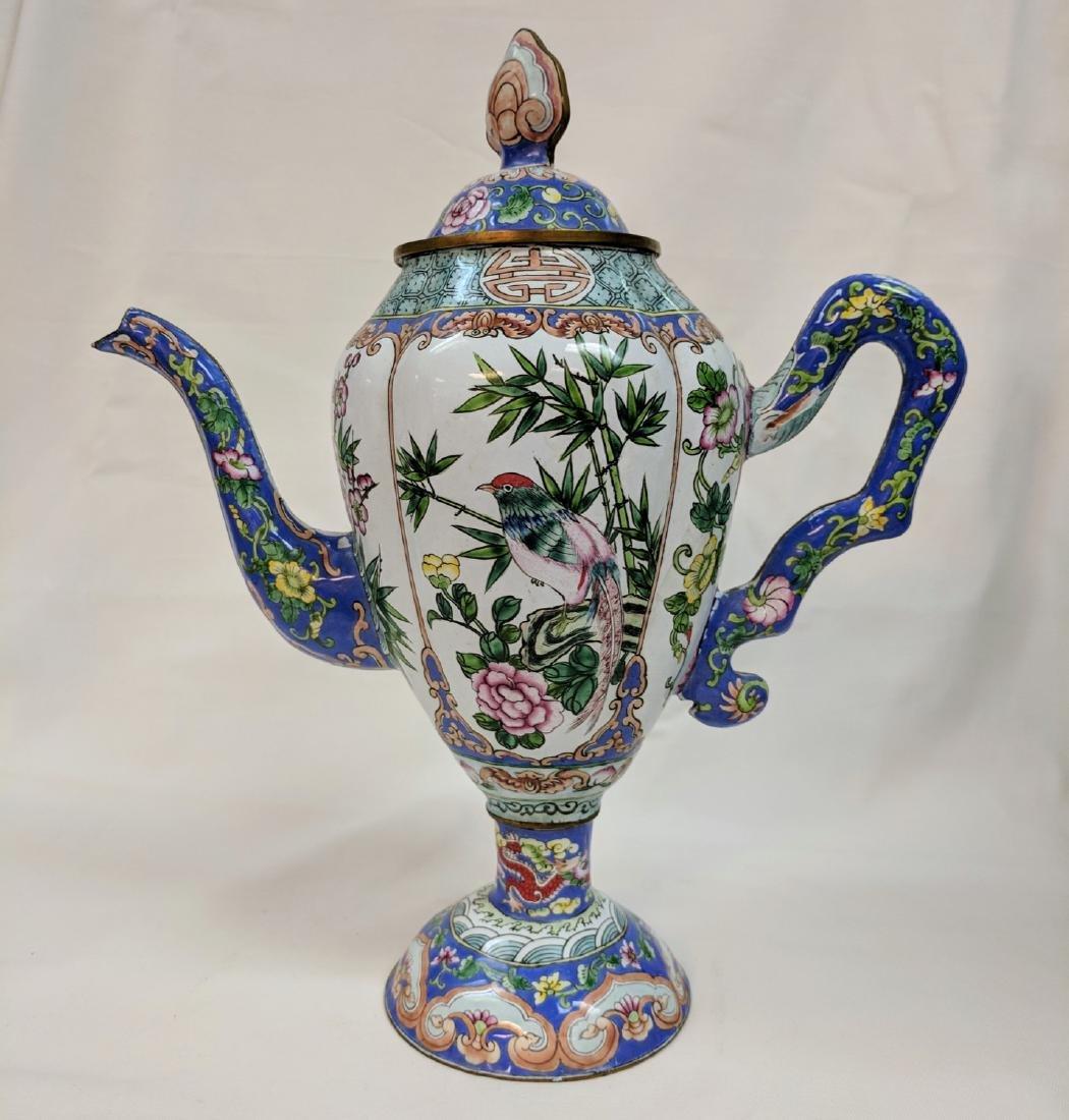 Vintage chinese enameled Metal Teapot