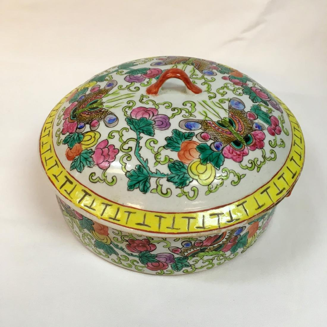 Vitange chinese enameled porcelain covered trinket box