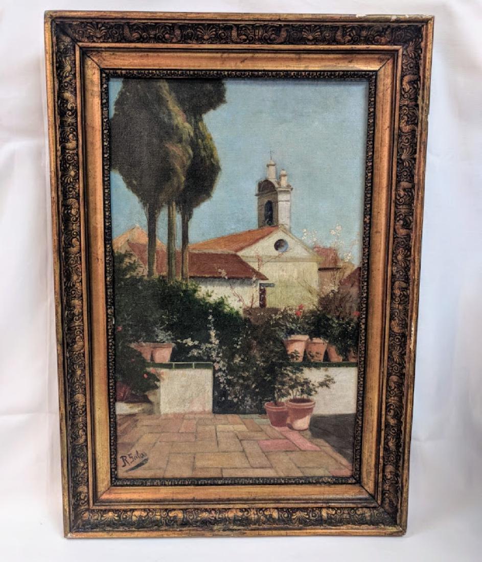 Antique Oil on canvas Signed  R.Salas