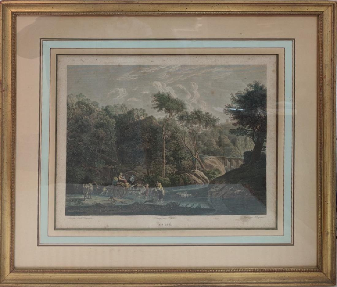Antique french color engraving