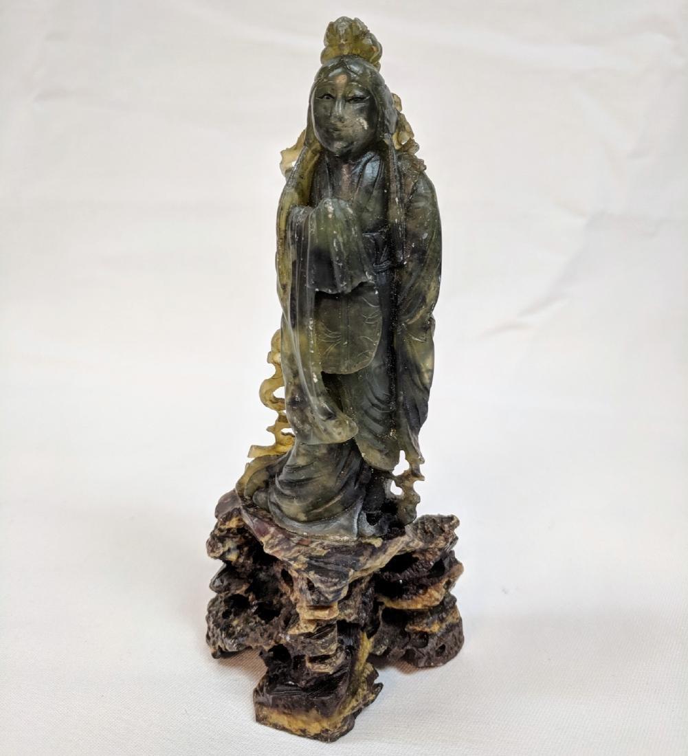 Antique chinese soapstone Buddha on base