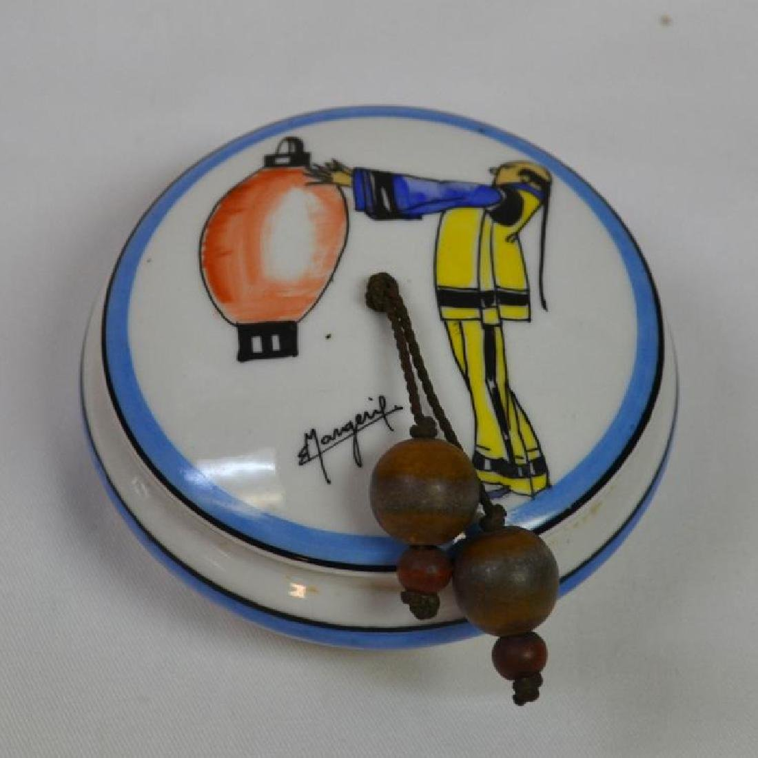 FRENCH BON BON COVERED DISH WITH WOODEN TASSLES
