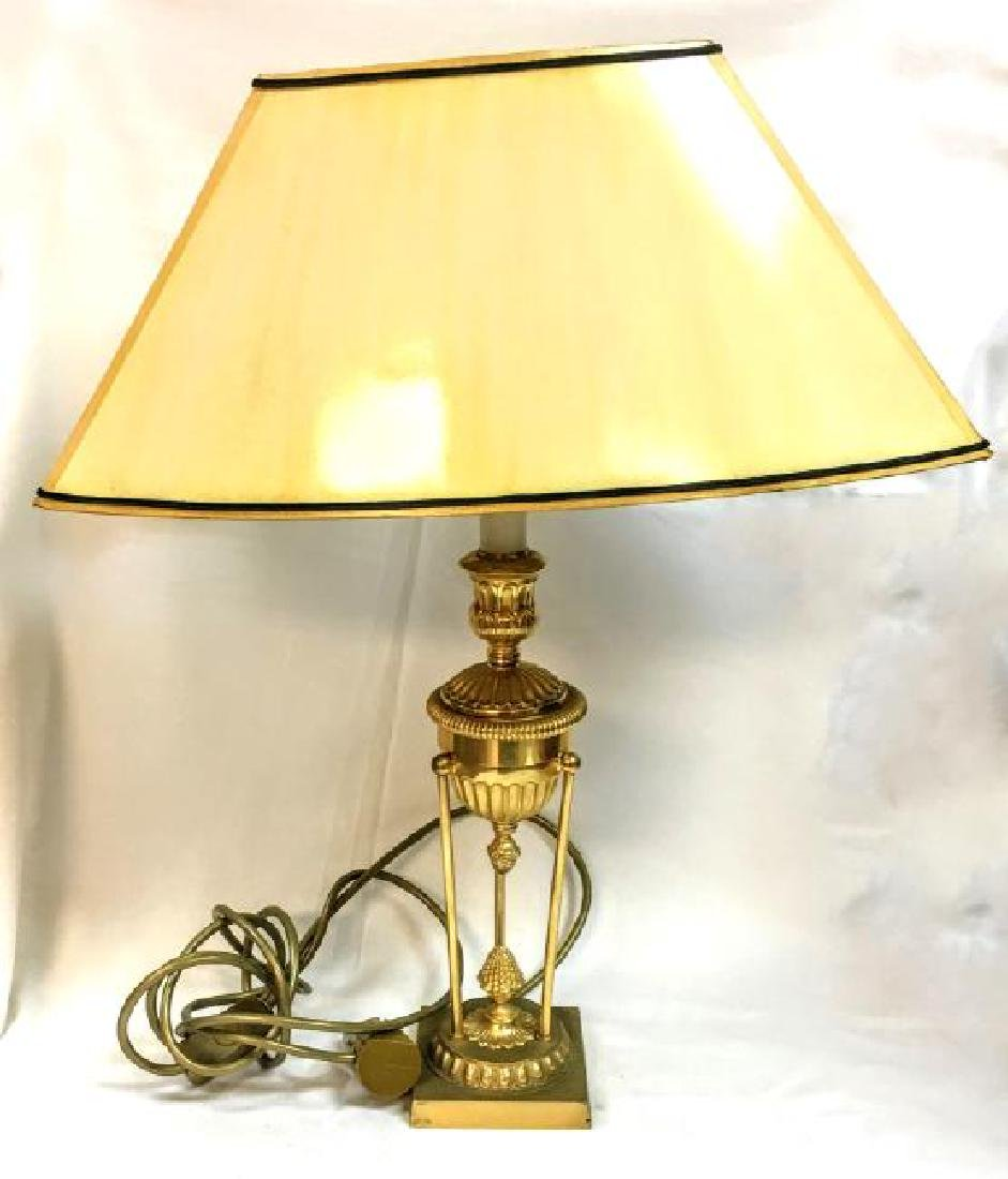 Hollow Bronze table lamp with shade