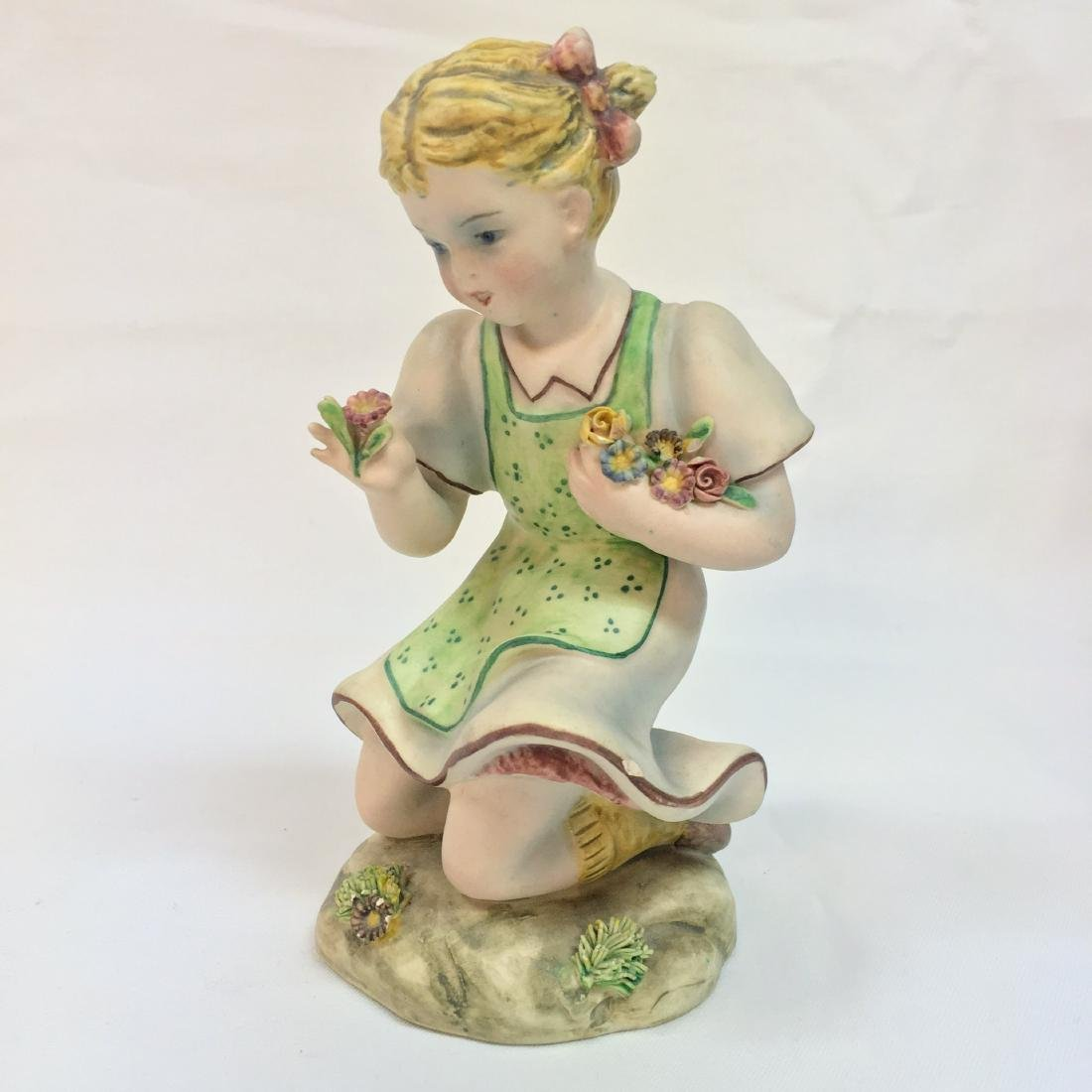 Vintage italian ceramic girl figurine ,signed on bottom