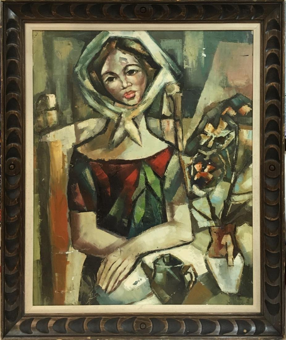 Oil on Canvas female depicted painting, unknown artist