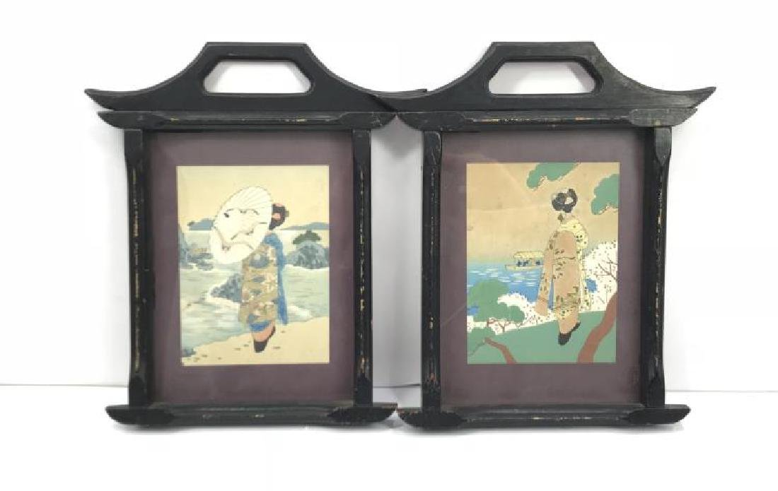 PAIR CHINESE ANTIQUE GENRE WATERCOLOR PAINTINGS