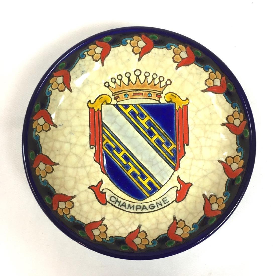 "Rare Emaux De Longwy France ""Champagne"" coat of arms"