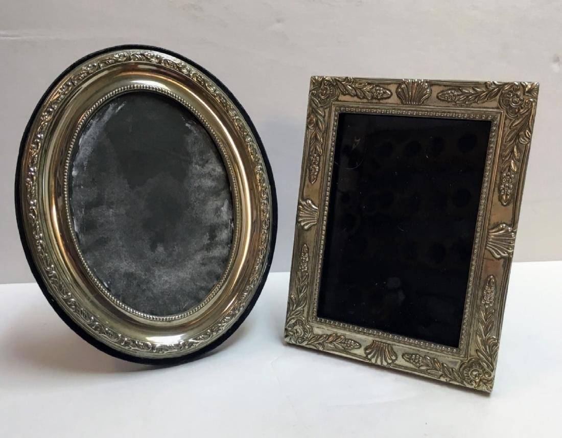 set of 2 Victorian silver plated picture frames